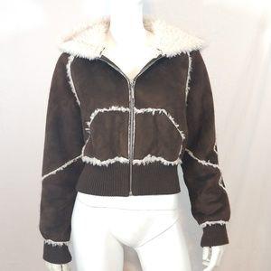 Static faux shearling bomber jacket hooded coat